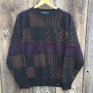 VTG 80s-90s Patterned Crewneck Dad Sweater, M